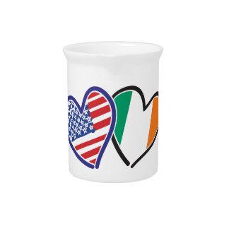 Banderas del corazón de los E.E.U.U. Irlanda Jarron