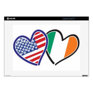 Banderas del corazón de los E.E.U.U. Irlanda Skins Para Portátiles