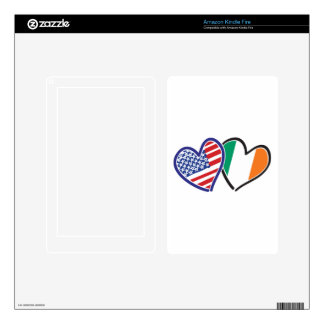 Banderas del corazón de los E.E.U.U. Irlanda Kindle Fire Pegatina Skin