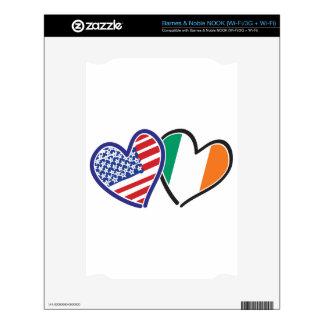 Banderas del corazón de los E.E.U.U. Irlanda Skin Para El NOOK