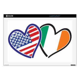 Banderas del corazón de los E.E.U.U. Irlanda Portátil Calcomanía