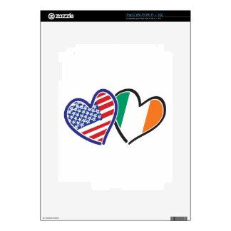 Banderas del corazón de los E.E.U.U. Irlanda Calcomanías Para iPad 2