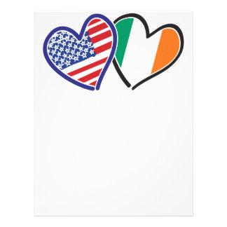 Banderas del corazón de los E.E.U.U. Irlanda Membrete Personalizado