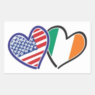 Banderas del corazón de los E.E.U.U. Irlanda Pegatina Rectangular