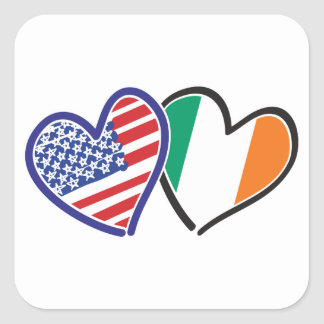 Banderas del corazón de los E.E.U.U. Irlanda Pegatina Cuadrada