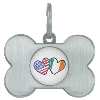 Banderas del corazón de los E.E.U.U. Irlanda Placa De Nombre De Mascota