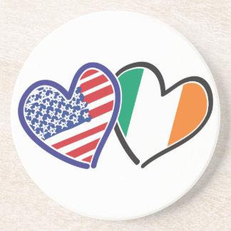 Banderas del corazón de los E.E.U.U. Irlanda Posavasos Para Bebidas