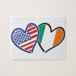 Banderas del corazón de los E.E.U.U. Irlanda Puzzles