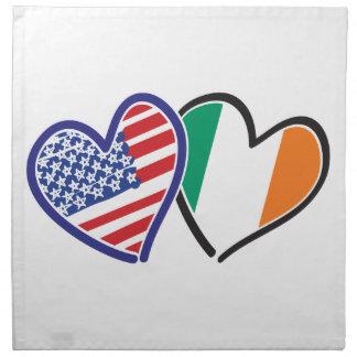 Banderas del corazón de los E.E.U.U. Irlanda Servilletas De Papel