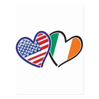 Banderas del corazón de los E.E.U.U. Irlanda Tarjeta Postal