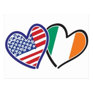 Banderas del corazón de los E.E.U.U. Irlanda Postales