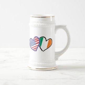 Banderas del corazón de los E.E.U.U. Irlanda Taza De Café