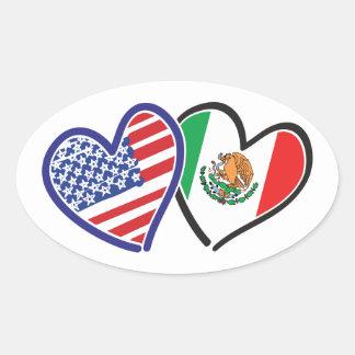 Banderas del corazón de los E.E.U.U. México Pegatina Ovalada