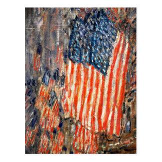 Banderas del en el Waldorf por Childe Hassam Postal