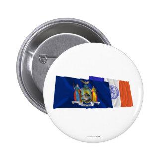 Banderas del Estado de Nuevo York y de New York Ci Pin Redondo De 2 Pulgadas