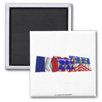 Banderas del Eure-et-Loir, del centro y de Francia Imán Cuadrado