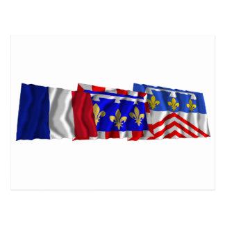 Banderas del Eure-et-Loir, del centro y de Francia Tarjetas Postales