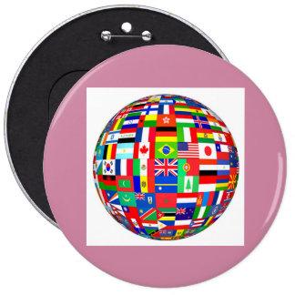 banderas del globo pin redondo de 6 pulgadas