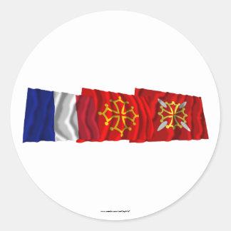 Banderas del Haute-Garonne, de Midi-Pyrénées y de Pegatina Redonda