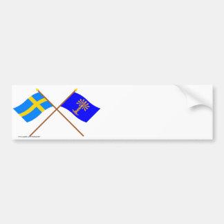 Banderas del län cruzado de Suecia y de Blekinge Pegatina De Parachoque