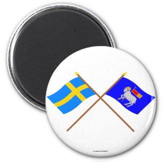 Banderas del län cruzado de Suecia y de Gotlands Imán Redondo 5 Cm