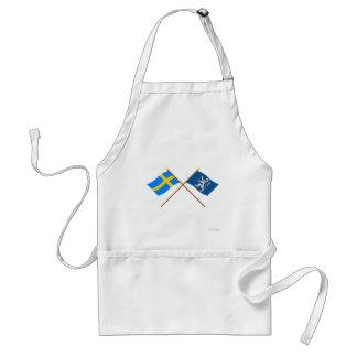 Banderas del län cruzado de Suecia y de Hallands Delantal