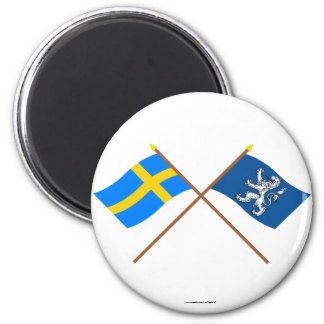Banderas del län cruzado de Suecia y de Hallands Imán Redondo 5 Cm