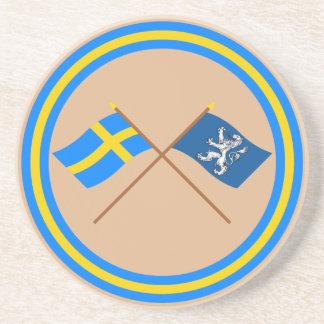 Banderas del län cruzado de Suecia y de Hallands Posavasos Diseño