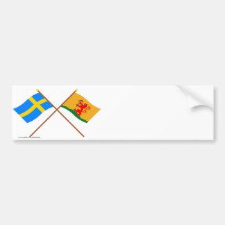 Banderas del län cruzado de Suecia y de Kronobergs Etiqueta De Parachoque