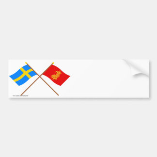 Banderas del län cruzado de Suecia y de Skåne Pegatina De Parachoque
