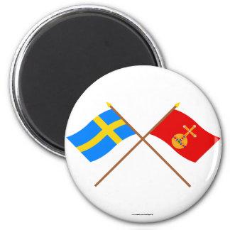 Banderas del län cruzado de Suecia y de Uppsala Imán Redondo 5 Cm