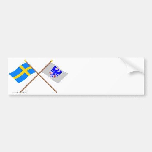 Banderas del län cruzado de Suecia y de Värmlands Etiqueta De Parachoque