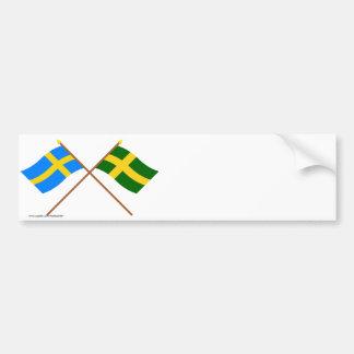 Banderas del landskap cruzado de Suecia y de Öland Etiqueta De Parachoque