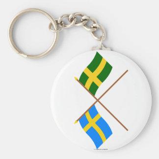 Banderas del landskap cruzado de Suecia y de Öland Llaveros