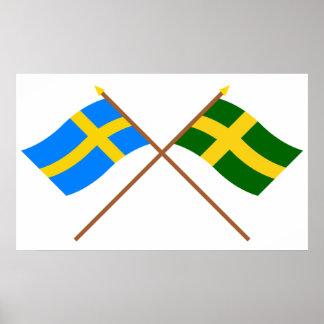 Banderas del landskap cruzado de Suecia y de Öland Póster