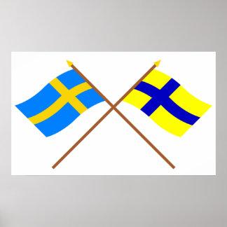 Banderas del landskap cruzado de Suecia y de Öster Póster