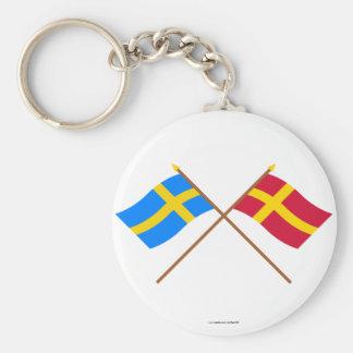Banderas del landskap cruzado de Suecia y de Skåne Llavero