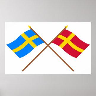 Banderas del landskap cruzado de Suecia y de Skåne Póster