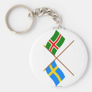 Banderas del landskap cruzado de Suecia y de Småla Llavero Personalizado