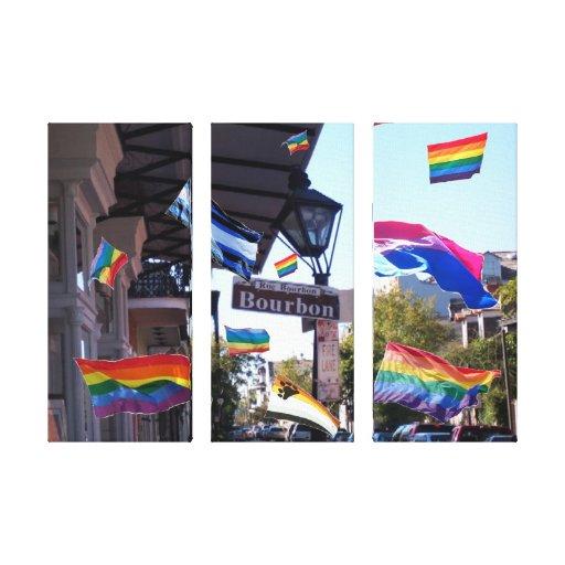 Banderas del orgullo de New Orleans en lona triple Impresiones En Lona