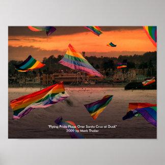 Banderas del orgullo del vuelo sobre Santa Cruz e Poster