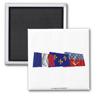 Banderas del Seine-Saint-Denis, de Île-de-Francia  Imanes Para Frigoríficos