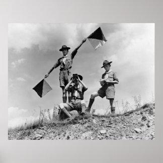 Banderas del semáforo del boy scout, los años 40 póster