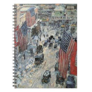 Banderas en la 57.a calle, impresionismo del libretas espirales