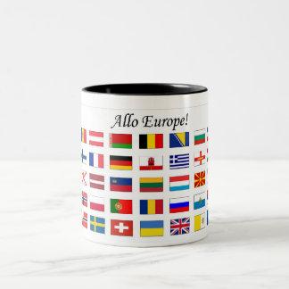 Banderas europeas taza de dos tonos