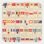 Banderas, insignias pegatina cuadrada