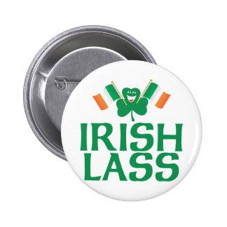 Banderas irlandesas del irlandés de la muchacha pin redondo de 2 pulgadas