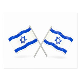 Banderas israelíes tarjeta postal