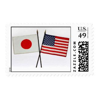 Banderas Japón-EE.UU. Sellos