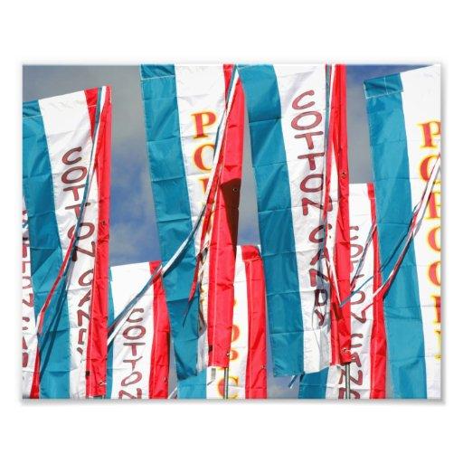 Banderas justas del caramelo de algodón de las pal fotografia